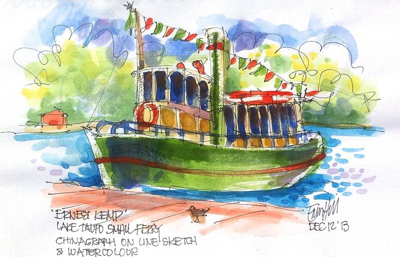 Taupo. Using watercolour.