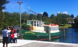 Visitors about to board 'Ernest Kemp' Lake Taupo.