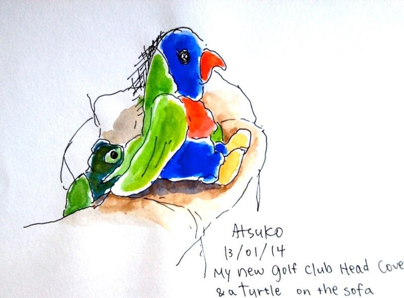 Atsuko. Golf club head with toy turtle. Jan 13 '14