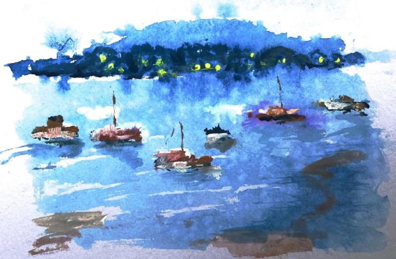 Karen F. Dusk at Hardys Bay. Guouche. Jan 6 '14