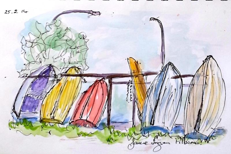 Janice. Dinghies on the railing. Feb 25 '14