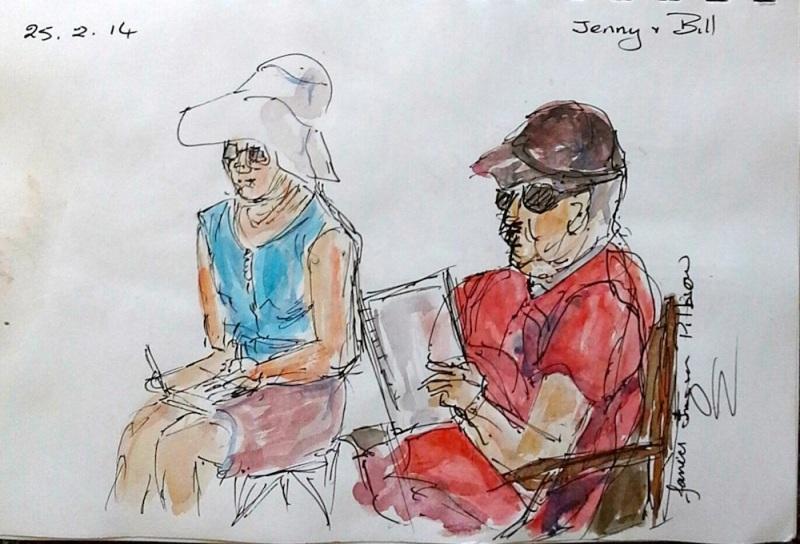 Janice. Jenny sketching, Bill reading. Feb 25 '14