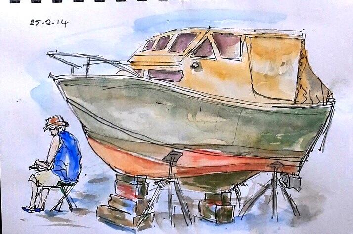 Janice. Sketching at the boat yard