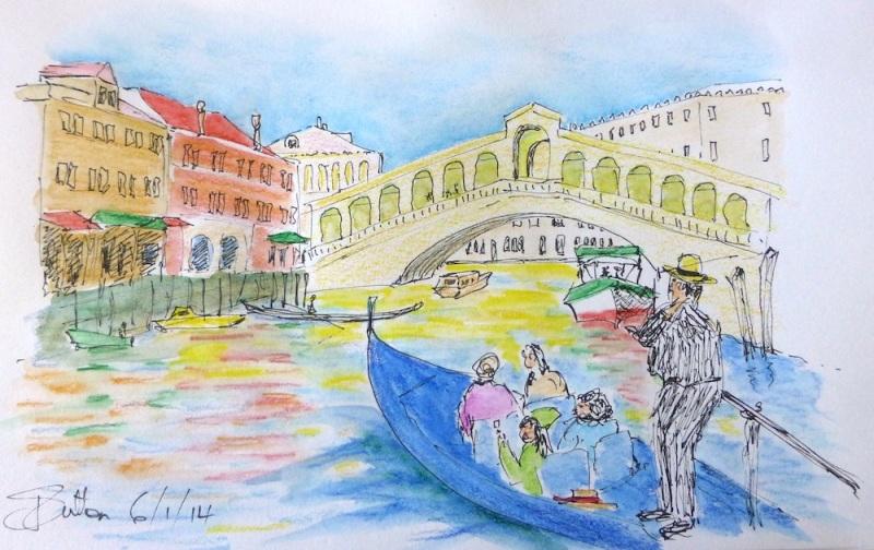 Jozy. A liitle  Venician gondola sketch. January '14