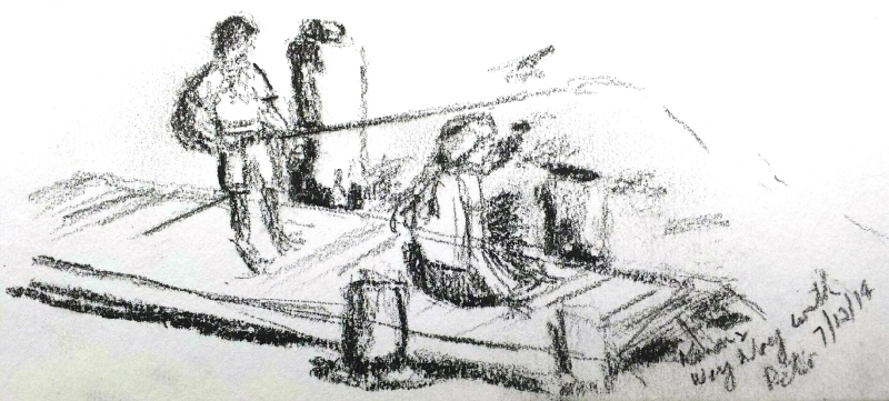 Karen F. Fishing off the WoyWoy wharf. Charcoal sketch. Jan 6 '14