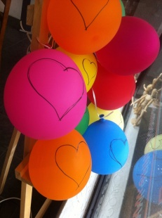Heart balloons in the Studio