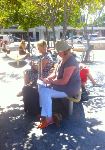 People sketching Manly Wharf