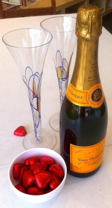 Warm champagne and chocolate