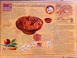 Diplay panel with Cassoulet recipe. Old Cite