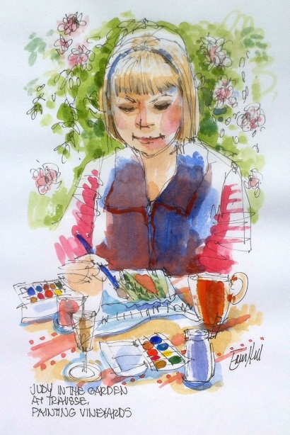 Judy sketching in the garden