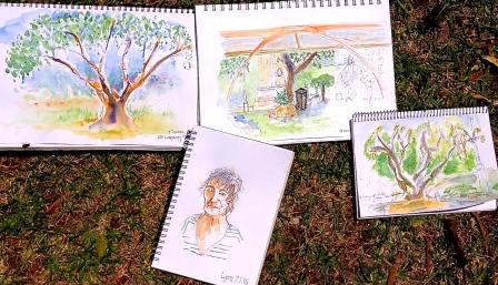Wed Jan 7. Sketching in the park