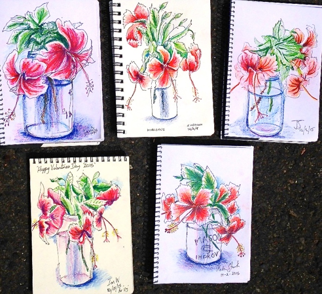 Feb 14 Intensive. Hibiscus first sketch