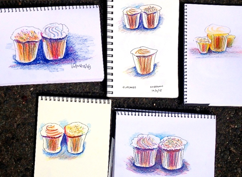 Feb 14. Quick sketch cupcakes