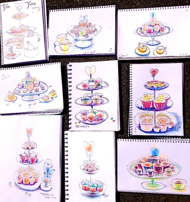 Tuesday. Valentines' Hi Tea, sketches