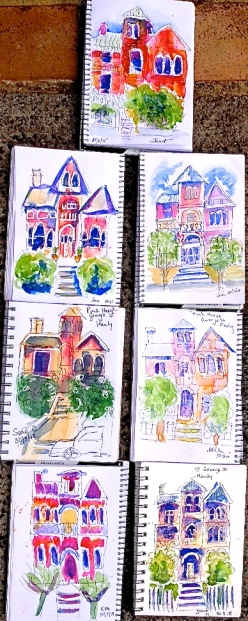 Monday. Pink House sketches