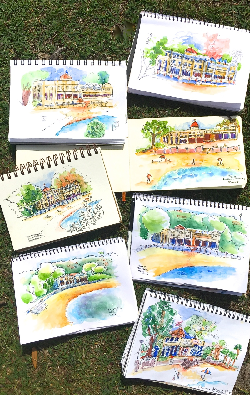 Saturday. The Bathers Pavilion sketches