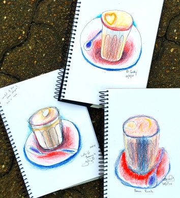 Monday New Sketchers. Hot coffee sketches