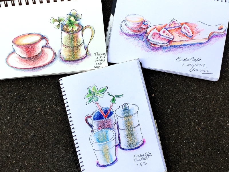 Saturday. Cafe sketches