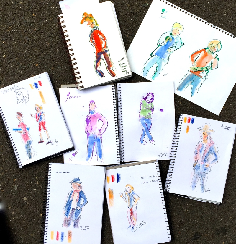 Saturday. Studio people sketches