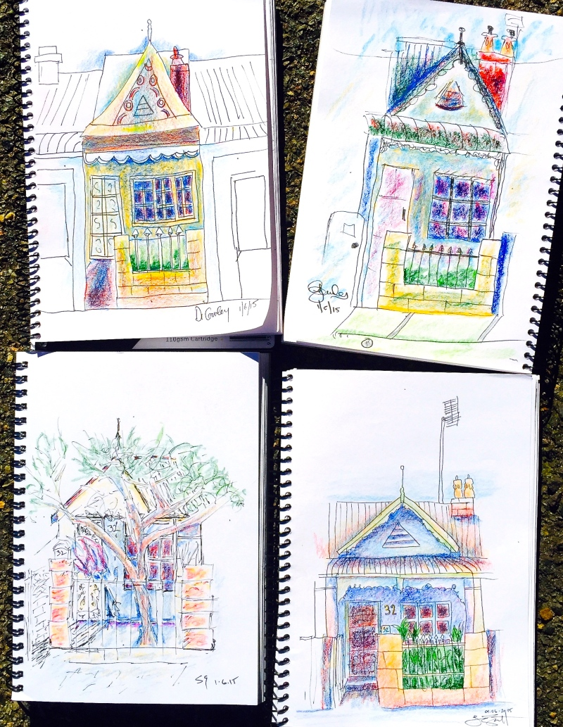 Monday. Little cottage sketches