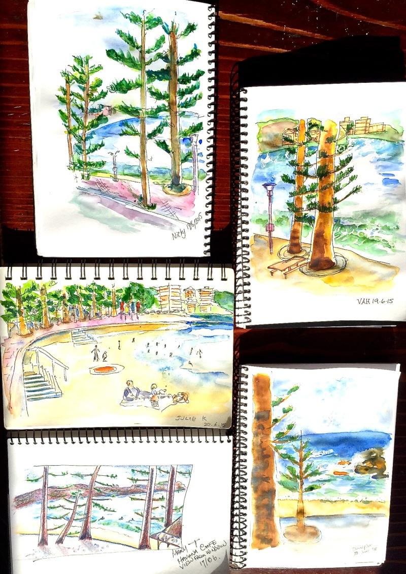 Saturday. Beach vista sketches