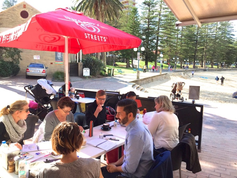 Saturday. Manly Cove Cafe sketching