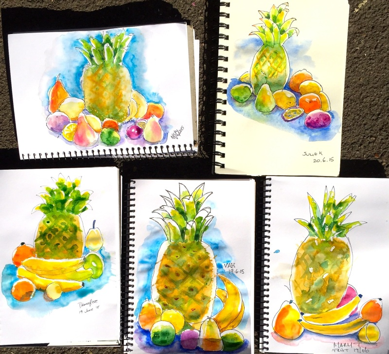 Saturdy. Tropical fruit sketches