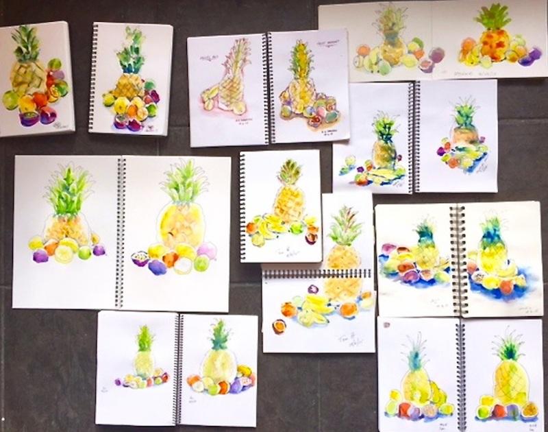 Thursday.Tropical fruit sketches