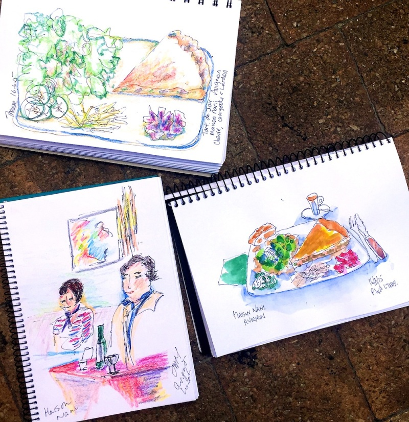 Tues June 16 Sketches from lunch at Maison Nani, Avignon