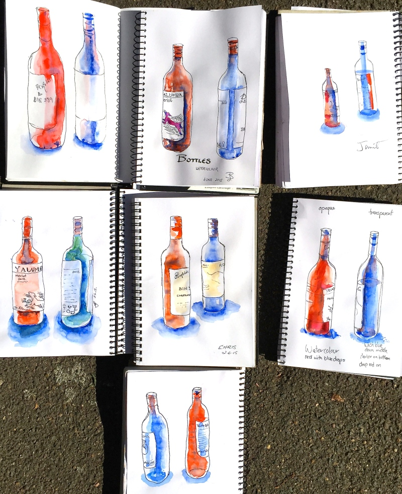 Tuesday. Bottle sketches