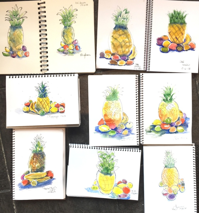 Wednesday. Tropical Fruit sketches