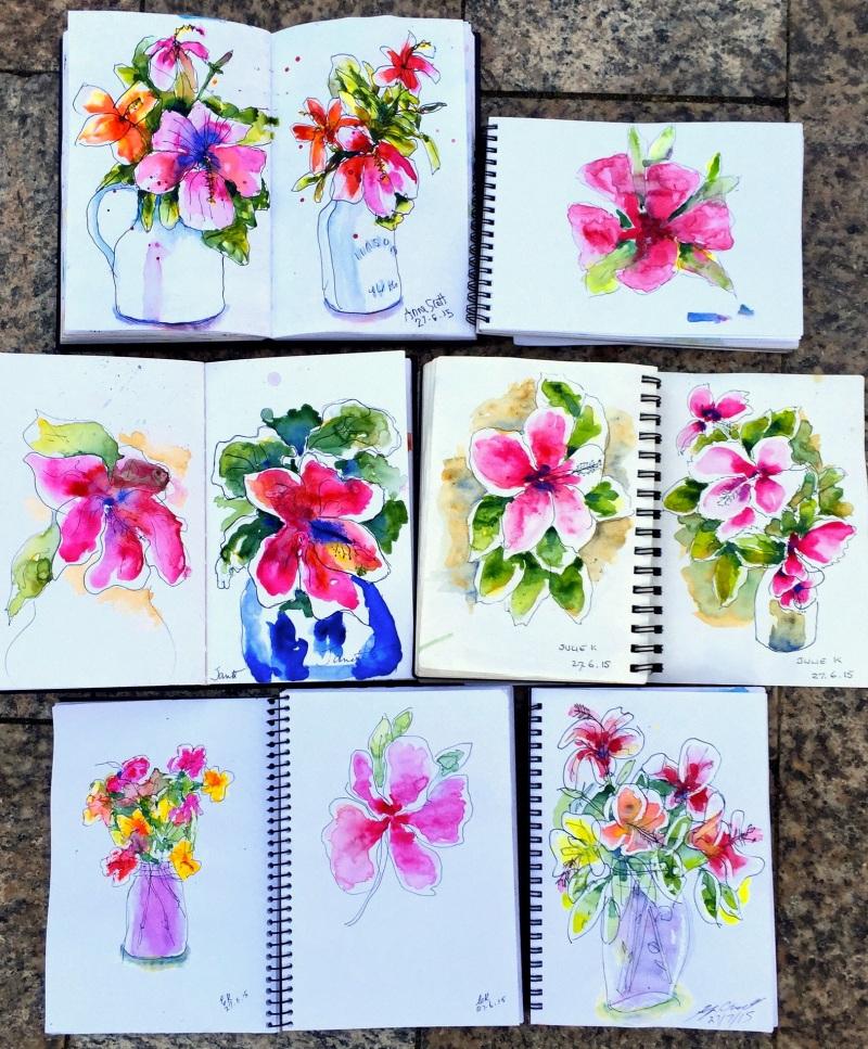 Sat. Intensive. Floweres in watercolour
