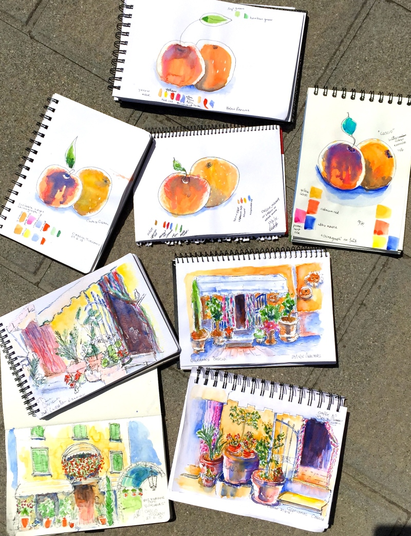 Saturday at Cascia. First watercolours for new sketchers. Plus the experienced student watercolours at Gloriana's