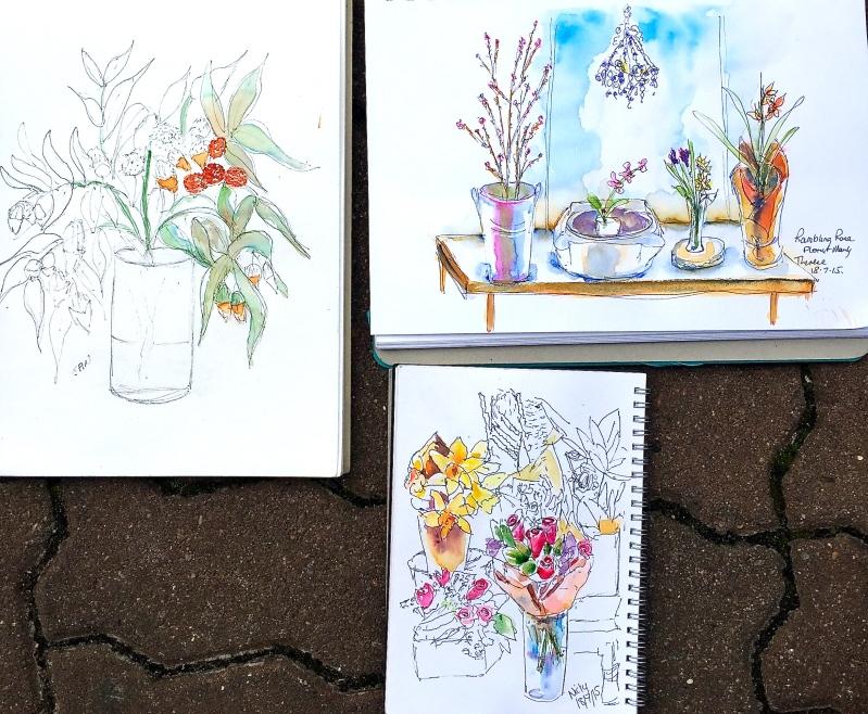 Saturday Regulars. Rambling Rose sketches