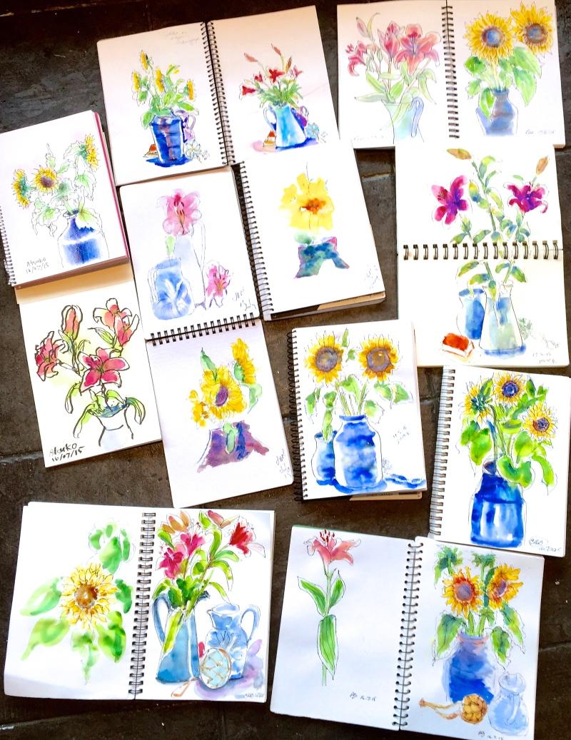 Thursday. Flower sketches
