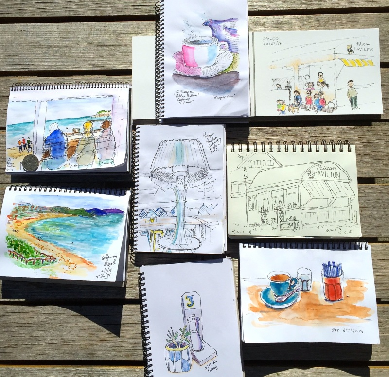 Thursday. Sketches at Pelican Pavilion