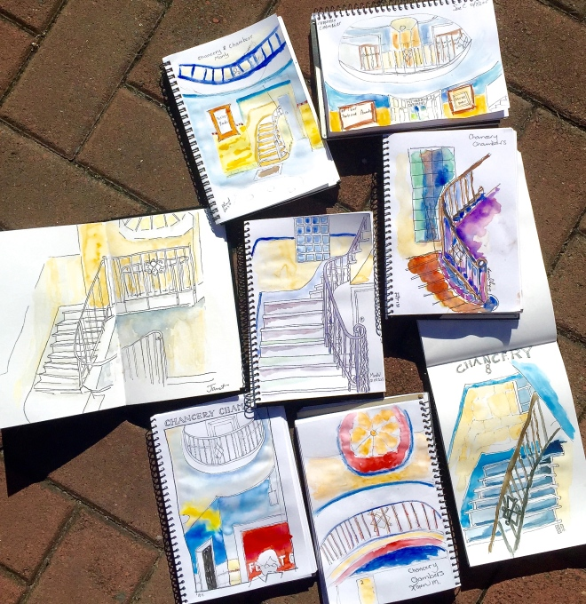 Tuesday. Chancery Arcade sketches