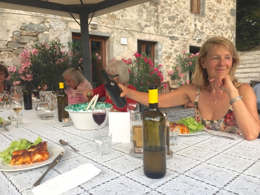 Tuesday Farewell dinner. Krysia offers wine.