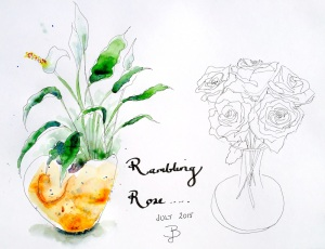 Tuesday. Flower sketches, Rambling Rose.