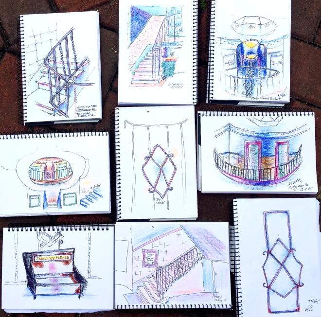 Wednesday. Chancery Arcade sketches