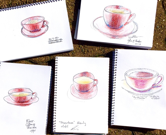 Wednesday. Hot coffee sketches