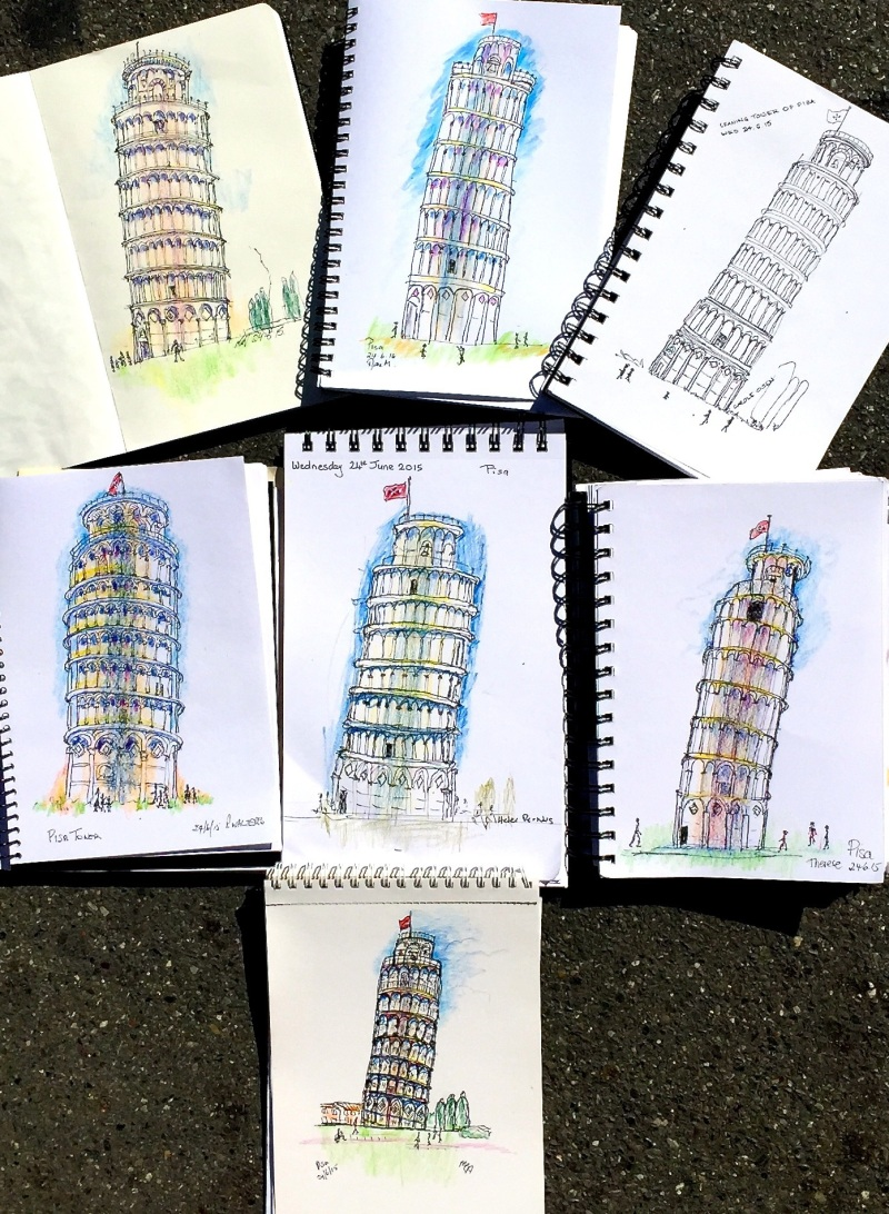 Wednesday. Morning sketches at Leaning tower