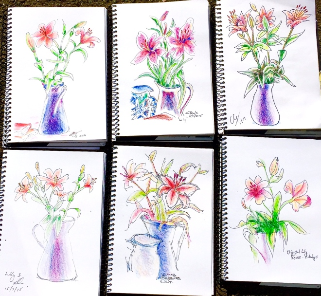Wednesday. Oriental lilies sketches