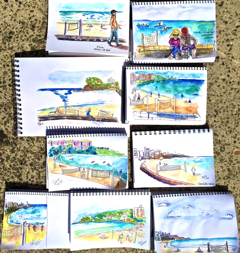 Friday. Beach and beyond sketching