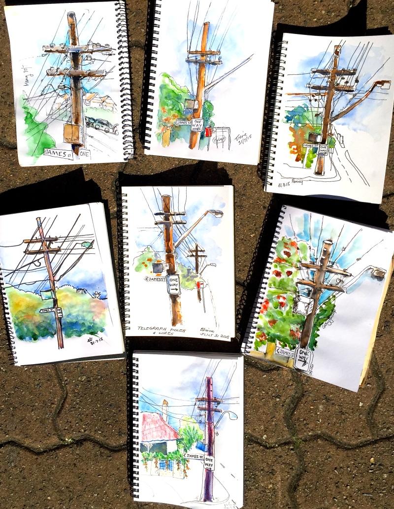 Friday. Telegraph poles sketching