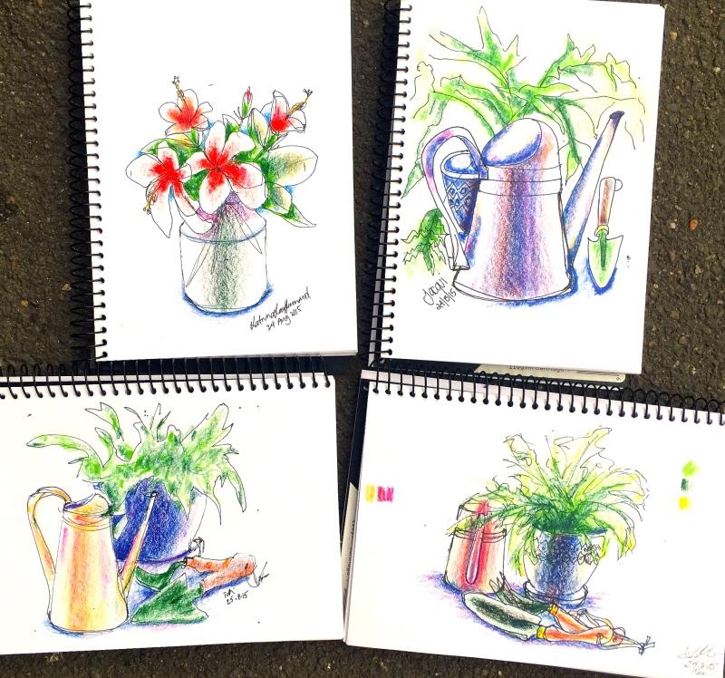 Monday. Garden sketches