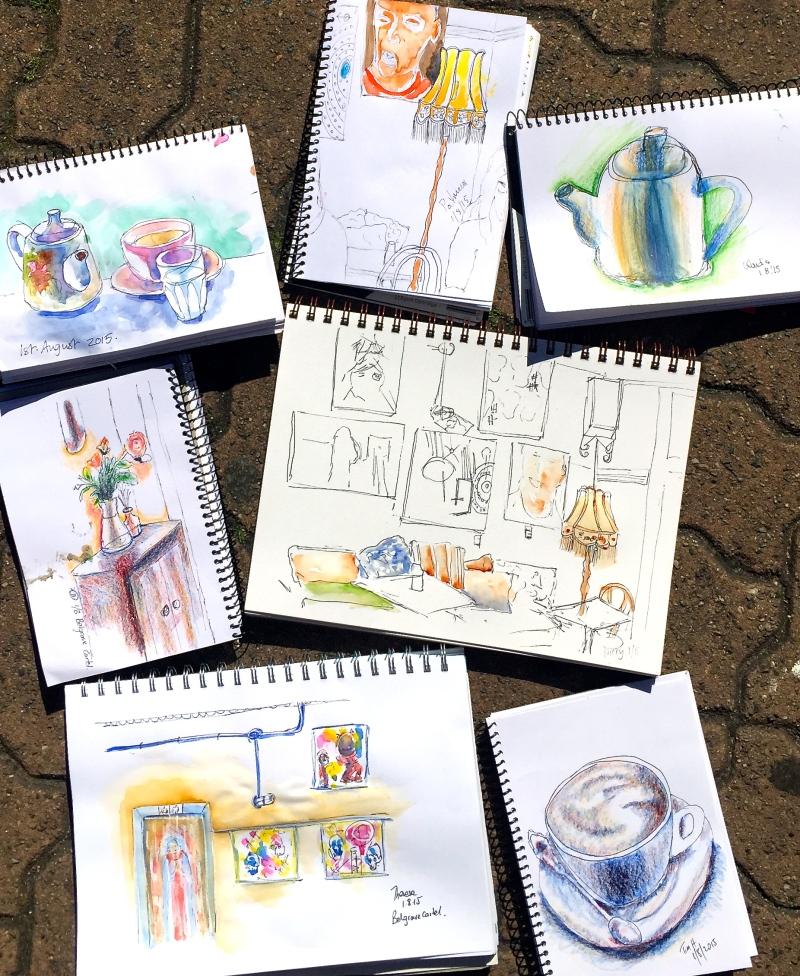 Saturday. Cafe sketches at Belgrave Cartel