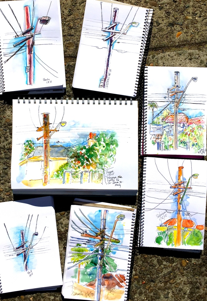 Saturday. Poles and line sketches