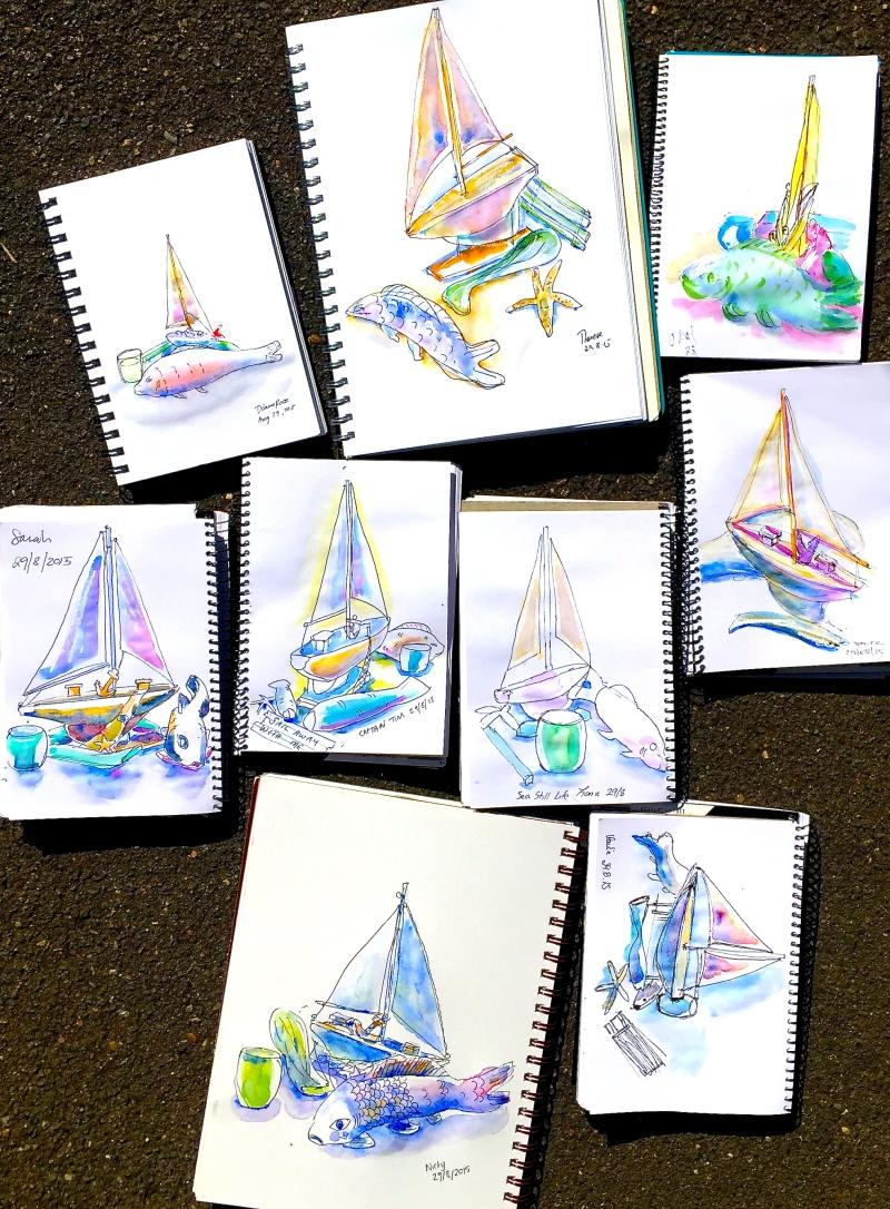 Saturday. Watercolour sketching still life