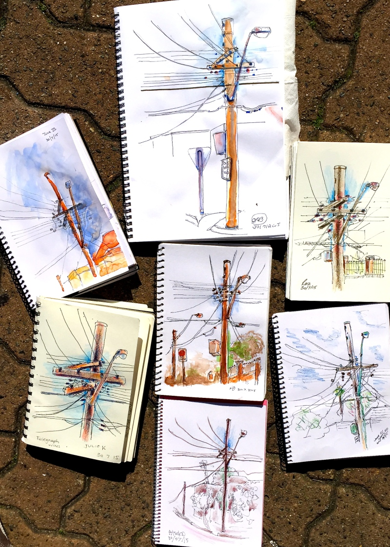 Thursday. Telegraph poles and wires